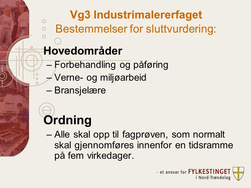 Vg3 Industrimalererfaget Bestemmelser for sluttvurdering: Hovedområder –Forbehandling og påføring –Verne- og miljøarbeid –Bransjelære Ordning –Alle skal opp til fagprøven, som normalt skal gjennomføres innenfor en tidsramme på fem virkedager.