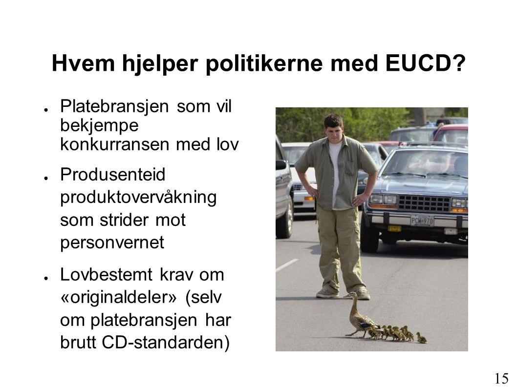 Hvem hjelper politikerne med EUCD? ● Platebransjen som vil bekjempe konkurransen med lov ● Produsenteid produktovervåkning som strider mot personverne