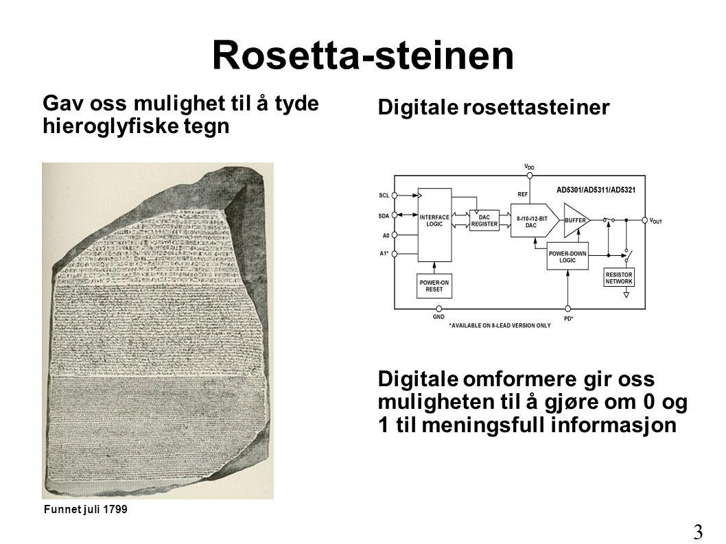 Rosetta-steinen Gav oss mulighet til å tyde hieroglyfiske tegn Digitale omformere gir oss muligheten til å gjøre om 0 og 1 til meningsfull informasjon
