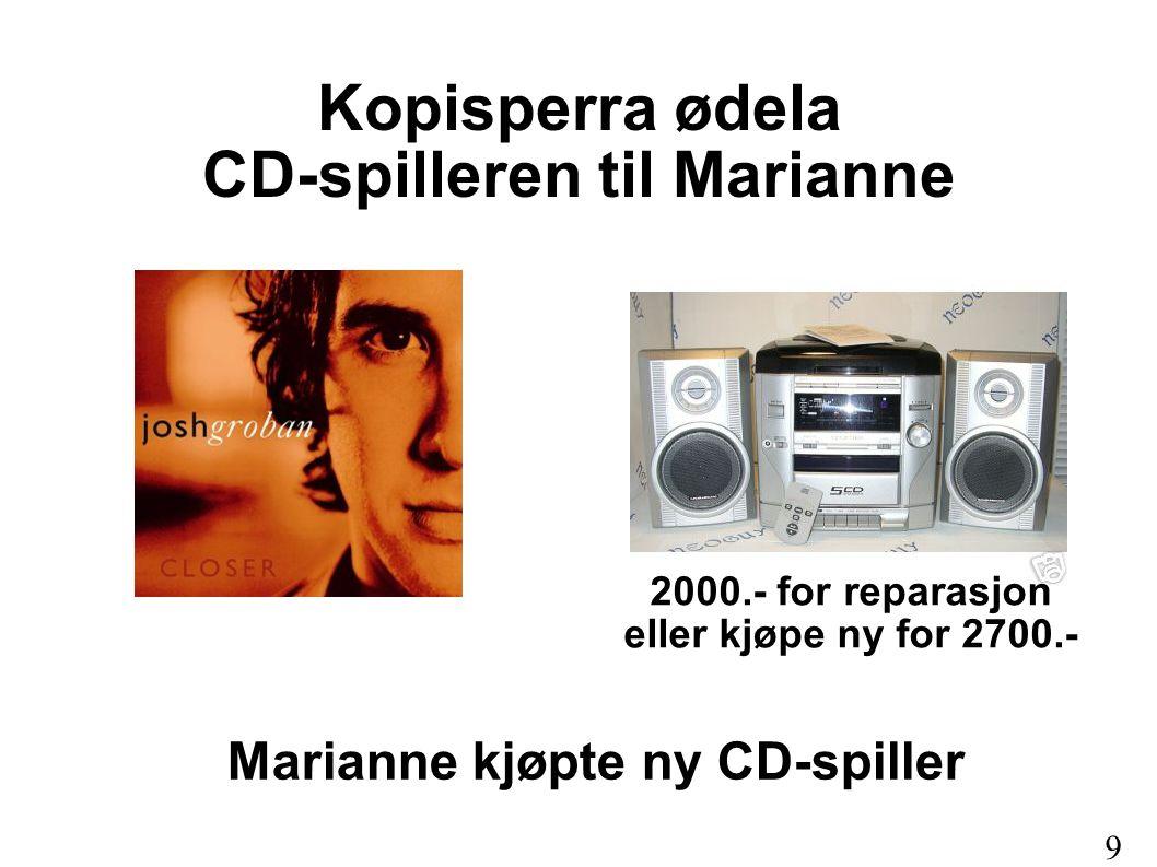 Kopisperra ødela CD-spilleren til Marianne Marianne kjøpte ny CD-spiller 2000.- for reparasjon eller kjøpe ny for 2700.- 9