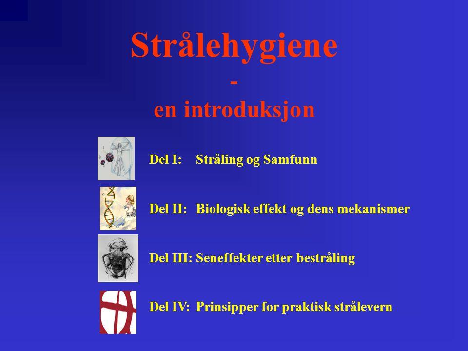 Strålehygiene - en introduksjon Del I:Stråling og Samfunn Del II:Biologisk effekt og dens mekanismer Del III:Seneffekter etter bestråling Del IV:Prinsipper for praktisk strålevern