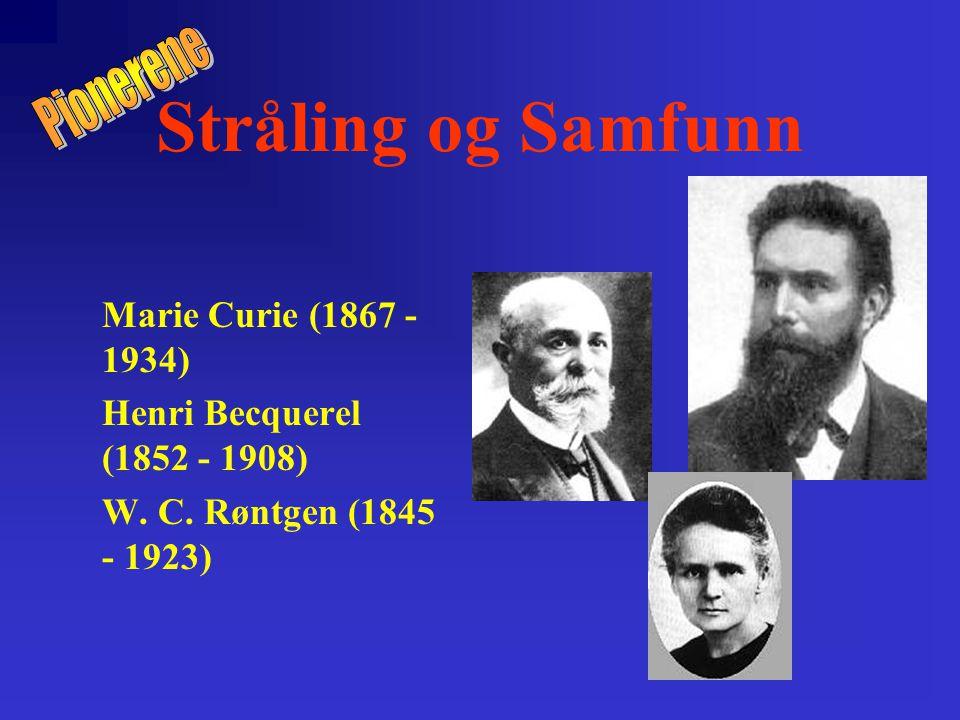 Stråling og Samfunn Marie Curie (1867 - 1934) Henri Becquerel (1852 - 1908) W.