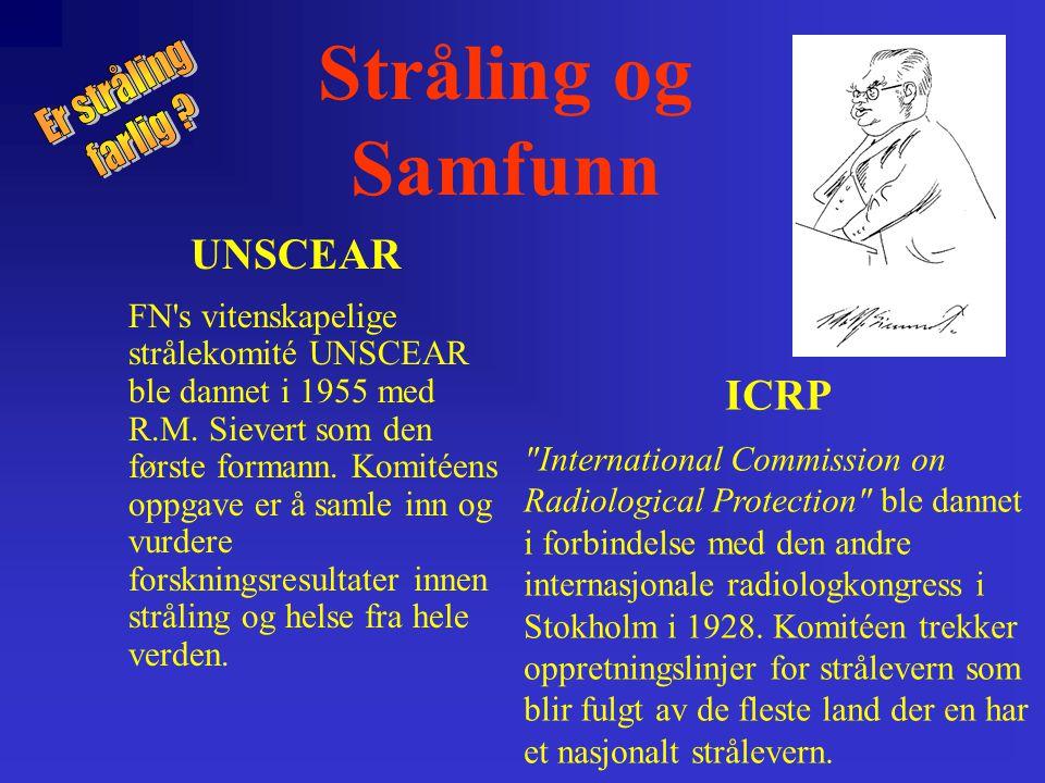 UNSCEAR FN s vitenskapelige strålekomité UNSCEAR ble dannet i 1955 med R.M.