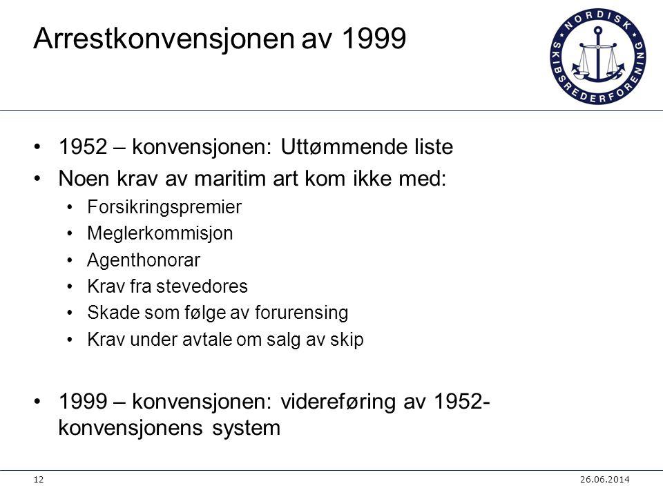 Arrestkonvensjonen av 1999 •1952 – konvensjonen: Uttømmende liste •Noen krav av maritim art kom ikke med: •Forsikringspremier •Meglerkommisjon •Agenth