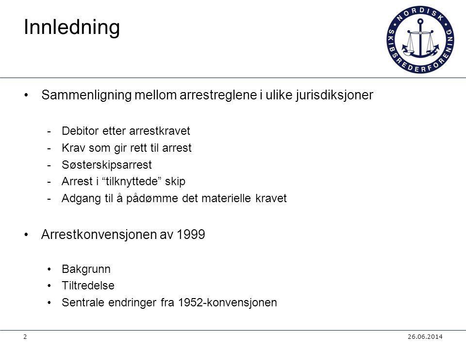 Arrestkonvensjonen av 1999 Oversikt over endringer i listen over sjørettslige krav: 26.06.201413 uendretmindrevesentlig a) tingsskade forårsaket av skip x b) personskade forårsaket av skip x c) berging x d) avtale om bruk / leie av skip x e) avtale om transport av gods x f) tap eller skade på gods x g) felleshavari x h) bodmeri x i) sleping x j) losing x k) gods / materialer levert til skip x l) bygging / reparasjon x m) mannskapshyre x n) utlegg for skipets / eiers regning x o) tvist om eiendomsretten til skip x p) tvist mellom sameiere x q) panterett eller annen sikkerhet x