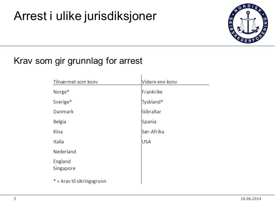 Arrest i ulike jurisdiksjoner Krav som gir grunnlag for arrest 26.06.20145 Tilnærmet som konvVidere enn konv Norge* Frankrike Sverige* Tyskland* Danma