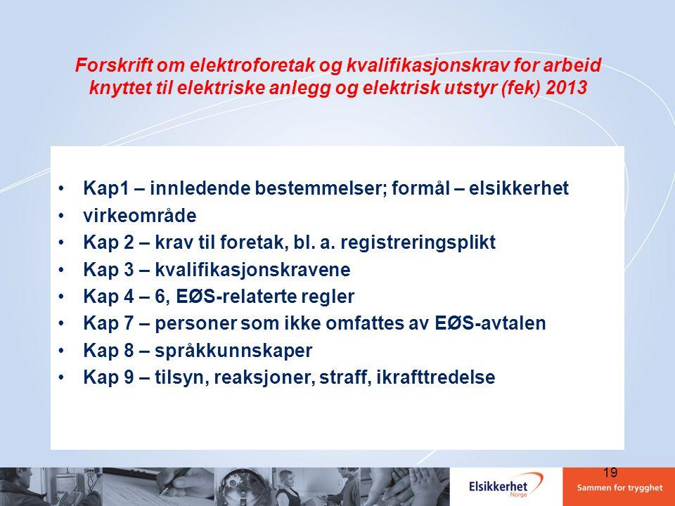 Forskrift om elektroforetak og kvalifikasjonskrav for arbeid knyttet til elektriske anlegg og elektrisk utstyr (fek) 2013 •Kap1 – innledende bestemmel