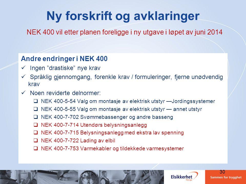 """30 Ny forskrift og avklaringer NEK 400 vil etter planen foreligge i ny utgave i løpet av juni 2014 Andre endringer i NEK 400  Ingen """"drastiske"""" nye k"""