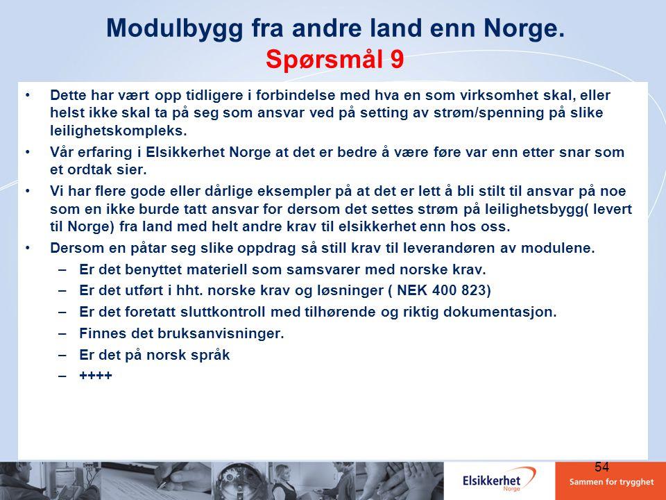 Modulbygg fra andre land enn Norge. Spørsmål 9 •Dette har vært opp tidligere i forbindelse med hva en som virksomhet skal, eller helst ikke skal ta på