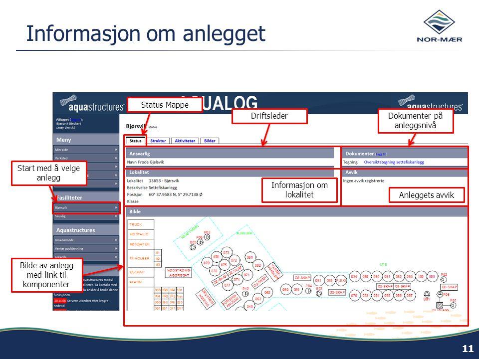 Informasjon om anlegget 11 Bilde av anlegg med link til komponenter Driftsleder Informasjon om lokalitet Dokumenter på anleggsnivå Start med å velge anlegg Anleggets avvik Status Mappe