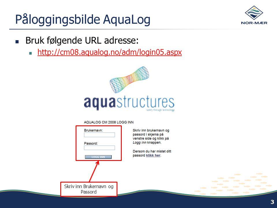 Påloggingsbilde AquaLog  Bruk følgende URL adresse:  http://cm08.aqualog.no/adm/login05.aspx http://cm08.aqualog.no/adm/login05.aspx 3 Skriv inn Brukernavn og Passord