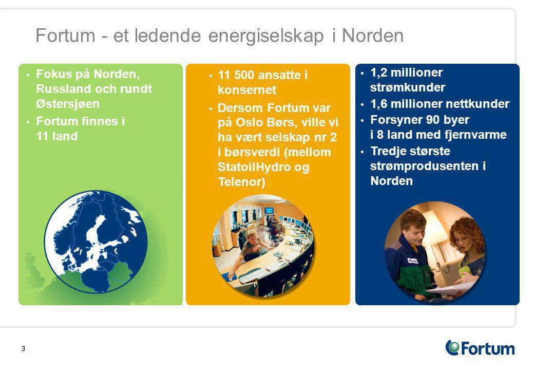 333 Fortum - et ledende energiselskap i Norden • Fokus på Norden, Russland och rundt Østersjøen • Fortum finnes i 11 land • 11 500 ansatte i konsernet • Dersom Fortum var på Oslo Børs, ville vi ha vært selskap nr 2 i børsverdi (mellom StatoilHydro og Telenor) • 1,2 millioner strømkunder • 1,6 millioner nettkunder • Forsyner 90 byer i 8 land med fjernvarme • Tredje største strømprodusenten i Norden