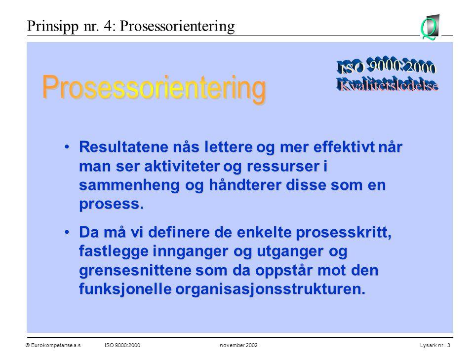 © Eurokompetanse a.sISO 9000:2000 november 2002 Lysark nr. 3 •Resultatene nås lettere og mer effektivt når man ser aktiviteter og ressurser i sammenhe
