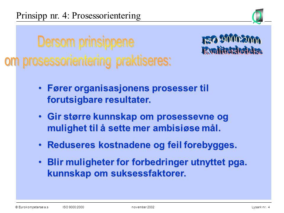 © Eurokompetanse a.sISO 9000:2000 november 2002 Lysark nr. 4 •Fører organisasjonens prosesser til forutsigbare resultater. •Gir større kunnskap om pro