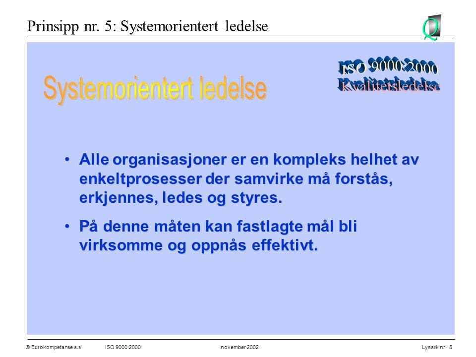 © Eurokompetanse a.sISO 9000:2000 november 2002 Lysark nr. 5 •Alle organisasjoner er en kompleks helhet av enkeltprosesser der samvirke må forstås, er