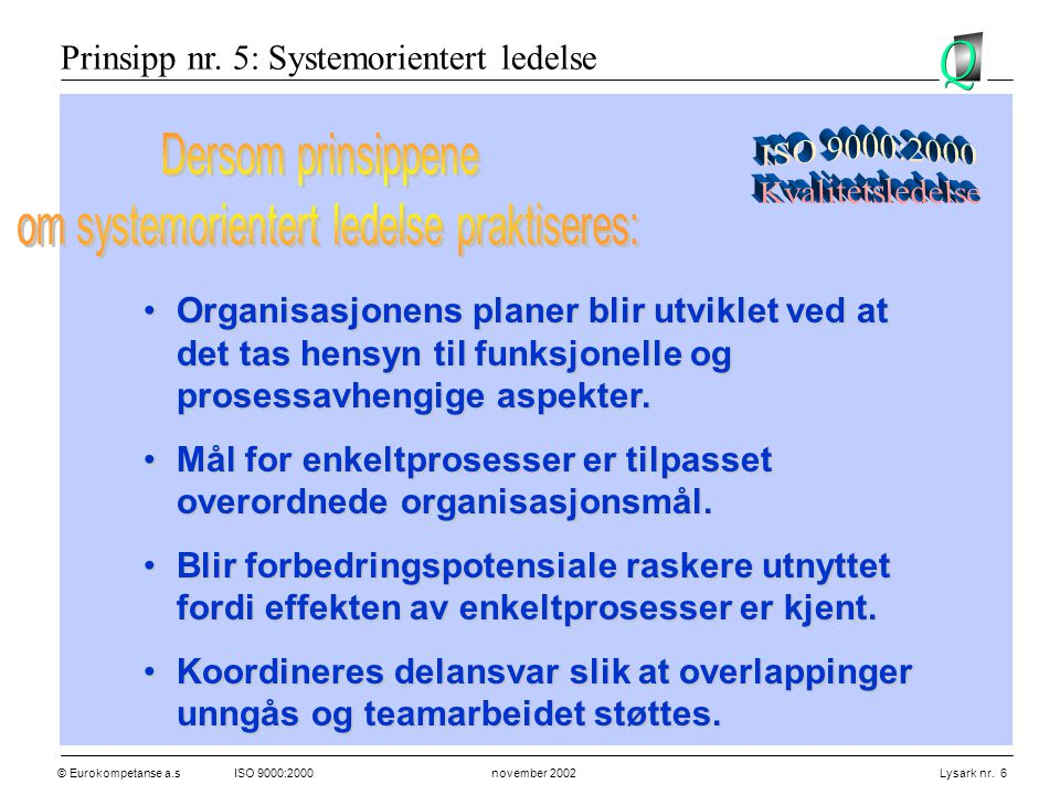 © Eurokompetanse a.sISO 9000:2000 november 2002 Lysark nr. 6 •Organisasjonens planer blir utviklet ved at det tas hensyn til funksjonelle og prosessav