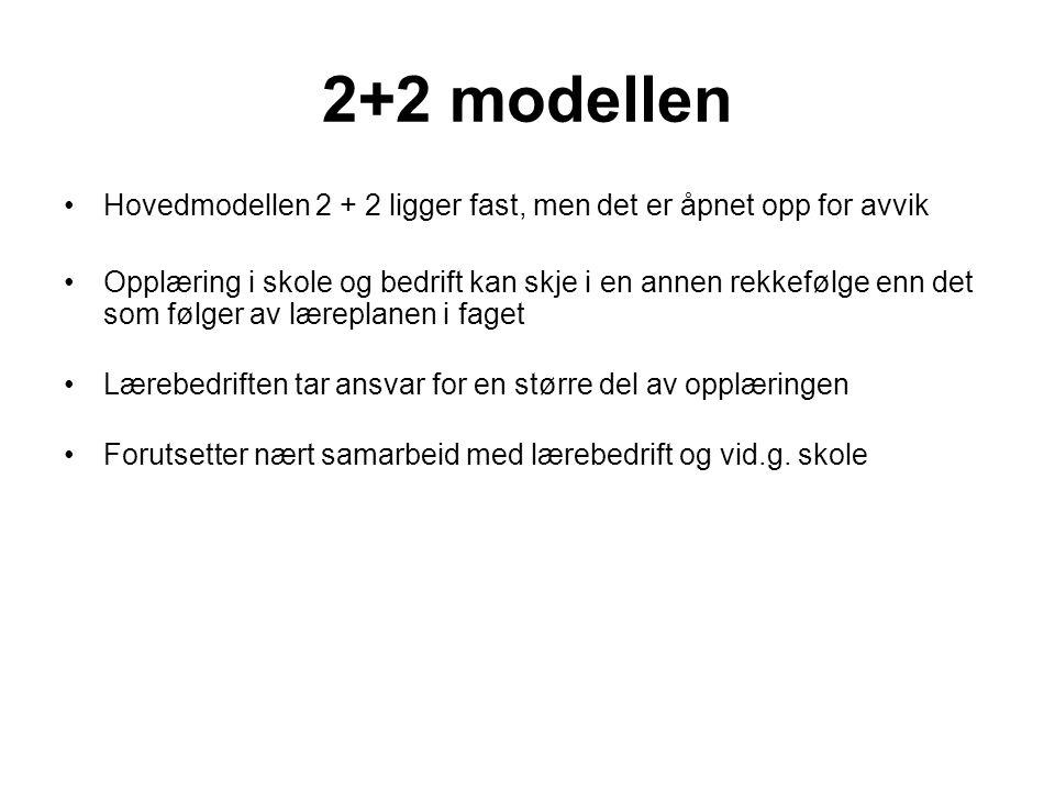 2+2 modellen •Hovedmodellen 2 + 2 ligger fast, men det er åpnet opp for avvik •Opplæring i skole og bedrift kan skje i en annen rekkefølge enn det som