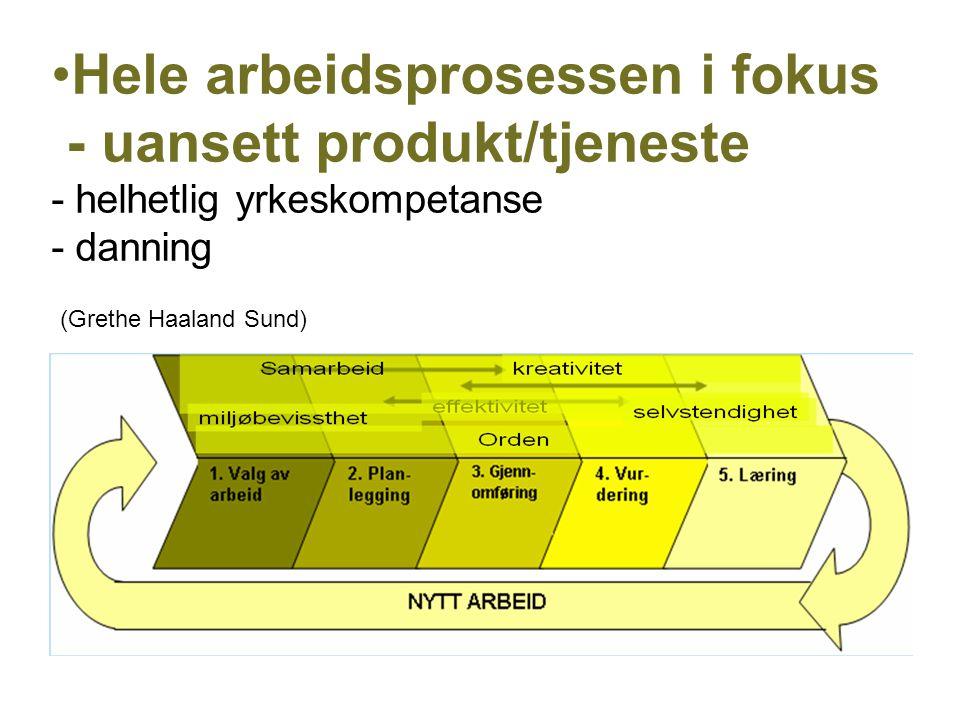 •Hele arbeidsprosessen i fokus - uansett produkt/tjeneste - helhetlig yrkeskompetanse - danning (Grethe Haaland Sund)