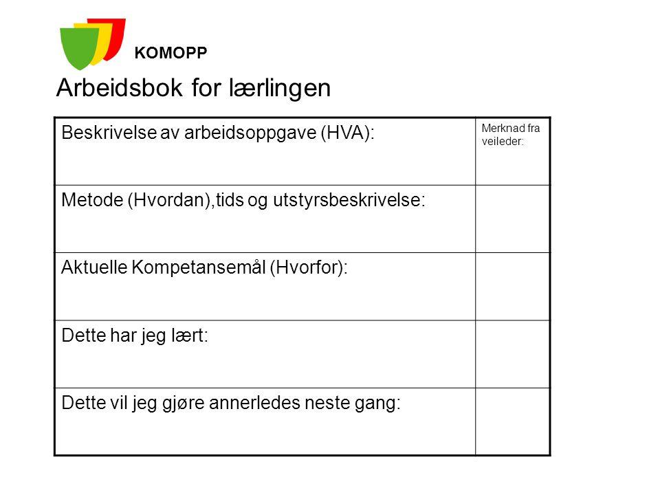 Arbeidsbok for lærlingen KOMOPP Beskrivelse av arbeidsoppgave (HVA): Merknad fra veileder: Metode (Hvordan),tids og utstyrsbeskrivelse: Aktuelle Kompe