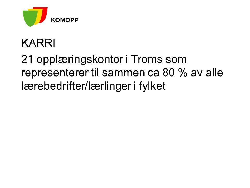 KARRI 21 opplæringskontor i Troms som representerer til sammen ca 80 % av alle lærebedrifter/lærlinger i fylket KOMOPP