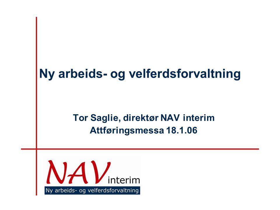 Ny arbeids- og velferdsforvaltning Tor Saglie, direktør NAV interim Attføringsmessa 18.1.06