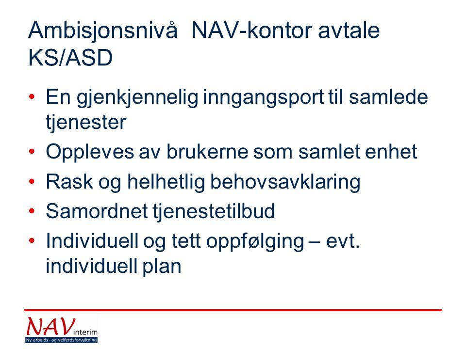 Ambisjonsnivå NAV-kontor avtale KS/ASD •En gjenkjennelig inngangsport til samlede tjenester •Oppleves av brukerne som samlet enhet •Rask og helhetlig