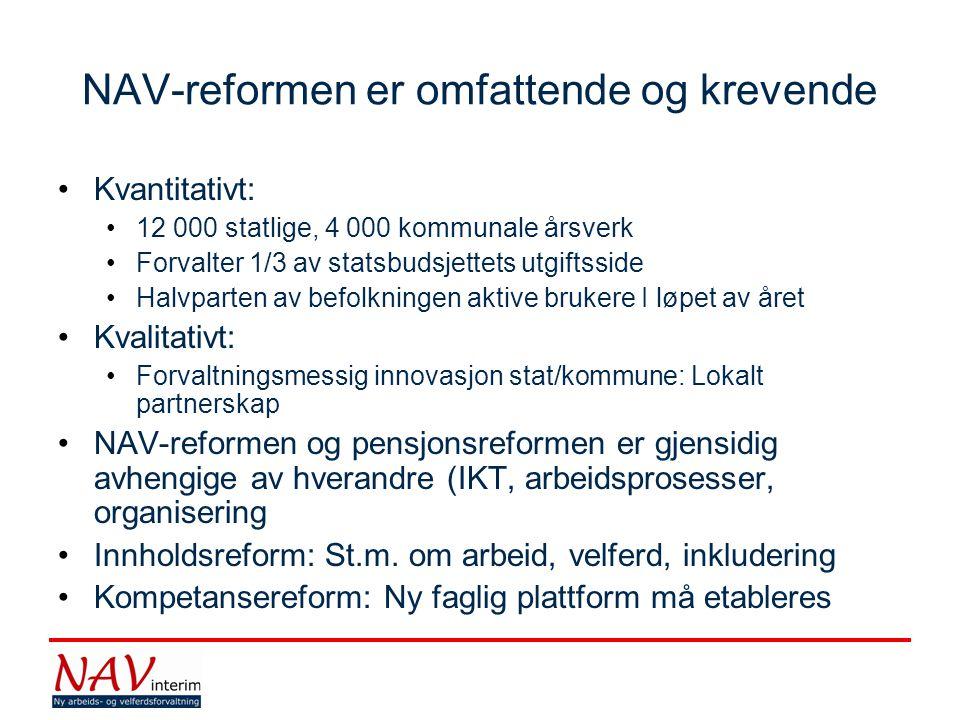 NAV-reformen er omfattende og krevende •Kvantitativt: •12 000 statlige, 4 000 kommunale årsverk •Forvalter 1/3 av statsbudsjettets utgiftsside •Halvpa