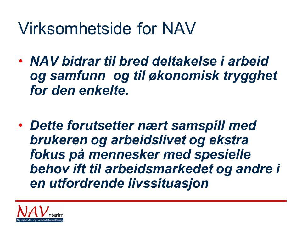 Virksomhetside for NAV •NAV bidrar til bred deltakelse i arbeid og samfunn og til økonomisk trygghet for den enkelte. •Dette forutsetter nært samspill