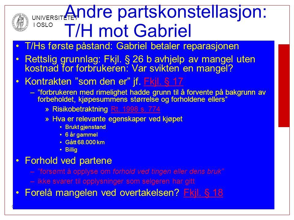 © DET JURIDISKE FAKULTET UNIVERSITETET I OSLO Andre partskonstellasjon: T/H mot Gabriel •T/Hs første påstand: Gabriel betaler reparasjonen •Rettslig g