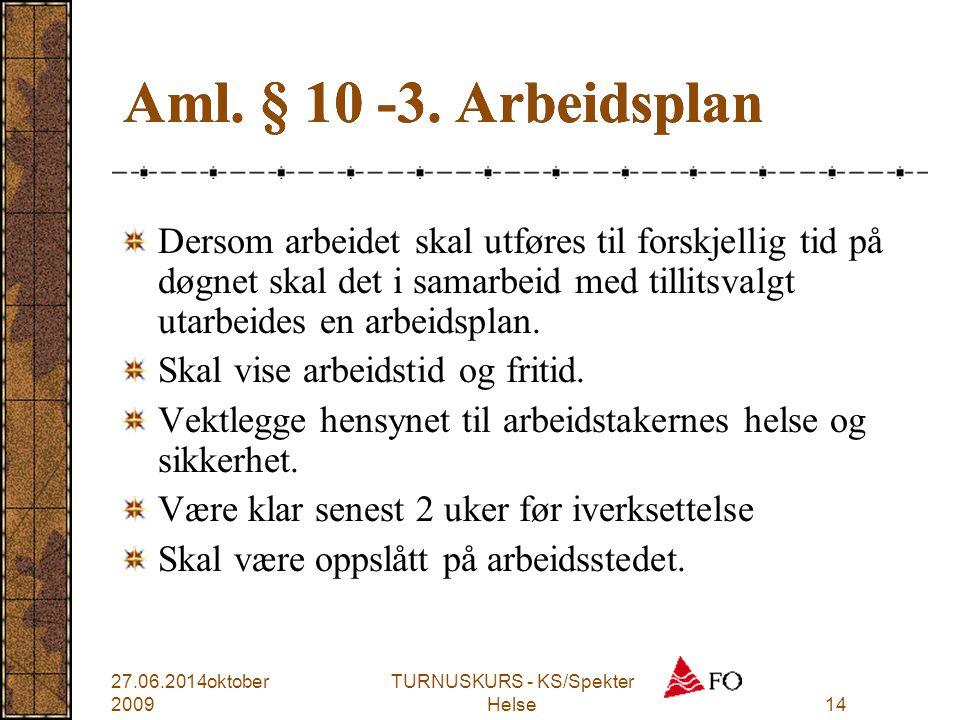 TURNUSKURS - KS/Spekter Helse14 Aml. § 10 -3. Arbeidsplan Dersom arbeidet skal utføres til forskjellig tid på døgnet skal det i samarbeid med tillitsv