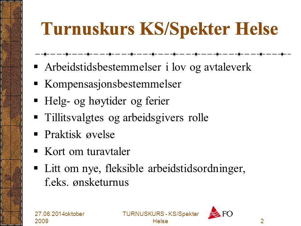 TURNUSKURS - KS/Spekter Helse2 Turnuskurs KS/Spekter Helse  Arbeidstidsbestemmelser i lov og avtaleverk  Kompensasjonsbestemmelser  Helg- og høytid