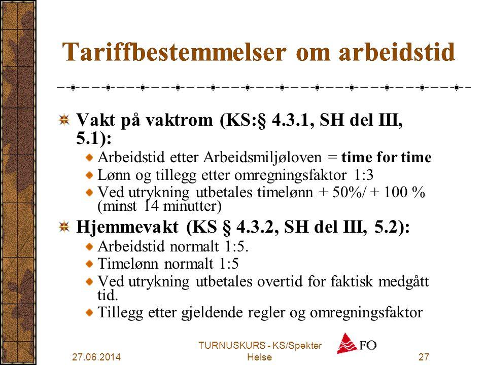 27.06.2014 TURNUSKURS - KS/Spekter Helse27 Vakt på vaktrom (KS:§ 4.3.1, SH del III, 5.1): Arbeidstid etter Arbeidsmiljøloven = time for time Lønn og t