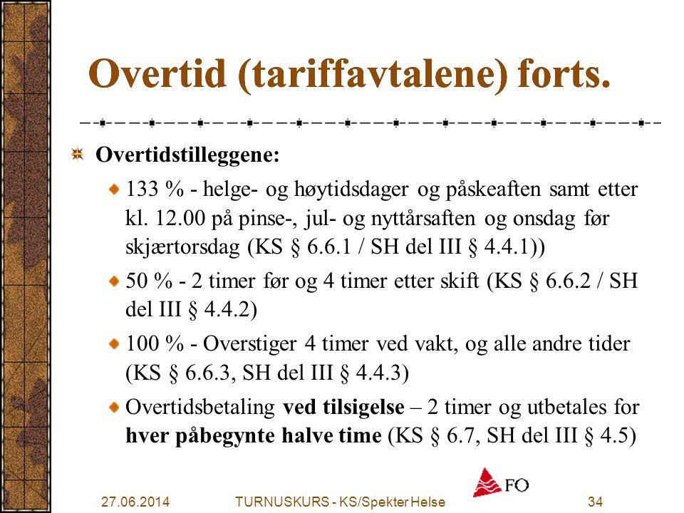 27.06.2014TURNUSKURS - KS/Spekter Helse34 Overtid (tariffavtalene) forts. Overtidstilleggene: 133 % - helge- og høytidsdager og påskeaften samt etter