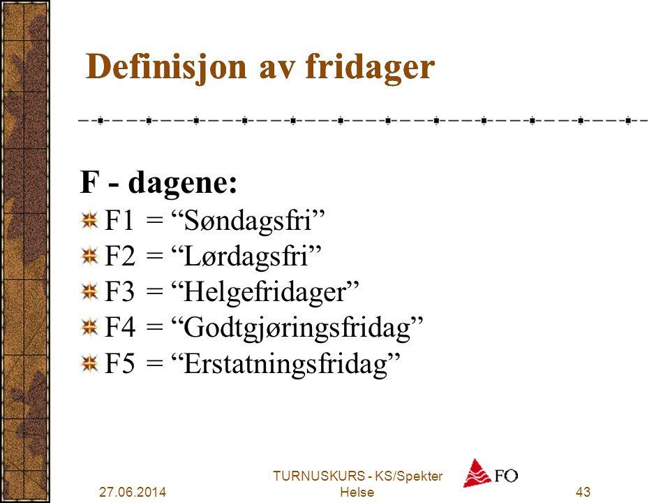 """27.06.2014 TURNUSKURS - KS/Spekter Helse43 Definisjon av fridager F - dagene: F1 = """"Søndagsfri"""" F2= """"Lørdagsfri"""" F3= """"Helgefridager"""" F4= """"Godtgjørings"""