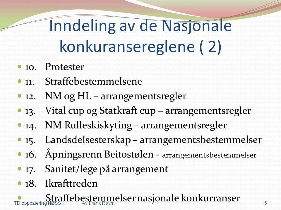 Inndeling av de Nasjonale konkuransereglene ( 2)  10.Protester  11.Straffebestemmelsene  12.NM og HL – arrangementsregler  13.Vital cup og Statkra