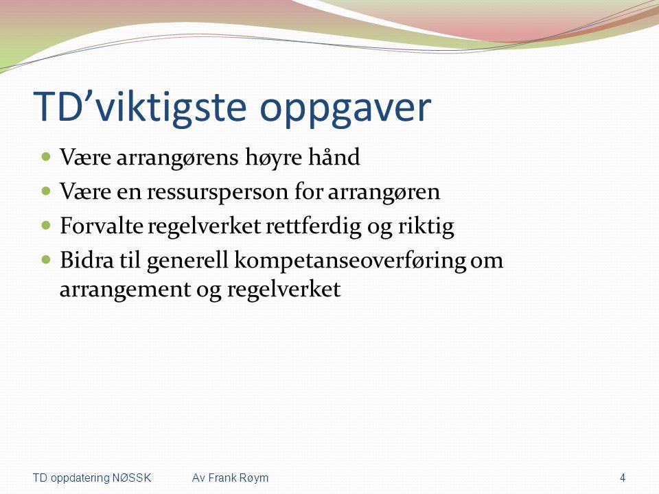 TD'viktigste oppgaver  Være arrangørens høyre hånd  Være en ressursperson for arrangøren  Forvalte regelverket rettferdig og riktig  Bidra til gen