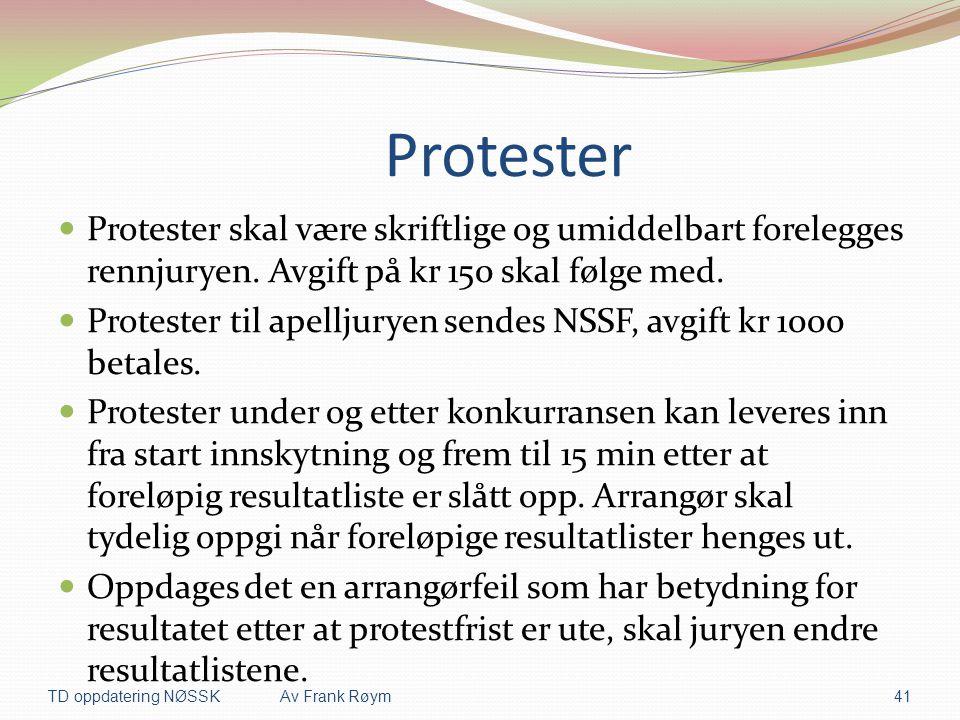 Protester  Protester skal være skriftlige og umiddelbart forelegges rennjuryen. Avgift på kr 150 skal følge med.  Protester til apelljuryen sendes N