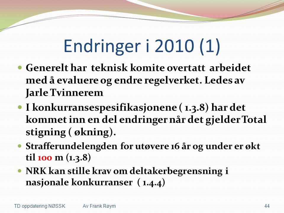 Endringer i 2010 (1)  Generelt har teknisk komite overtatt arbeidet med å evaluere og endre regelverket. Ledes av Jarle Tvinnerem  I konkurransespes