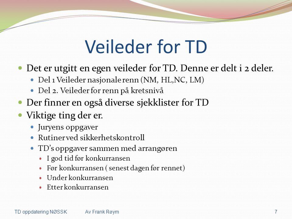 Veileder for TD  Det er utgitt en egen veileder for TD. Denne er delt i 2 deler.  Del 1 Veileder nasjonale renn (NM, HL,NC, LM)  Del 2. Veileder fo