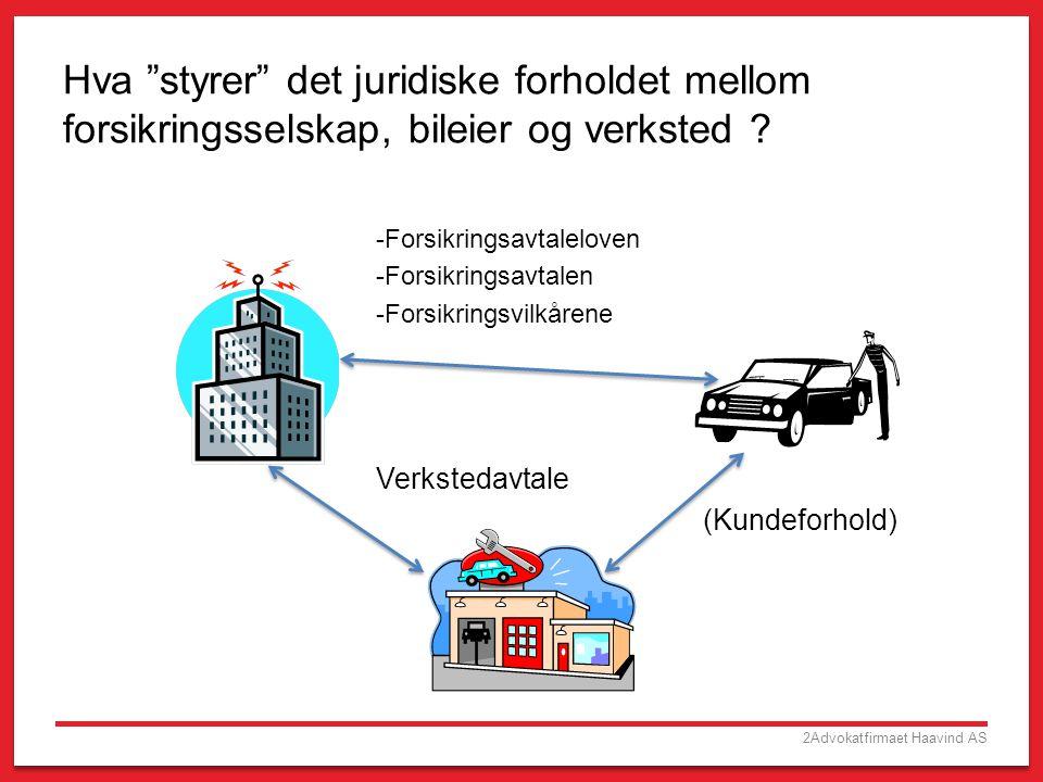 """2Advokatfirmaet Haavind AS Hva """"styrer"""" det juridiske forholdet mellom forsikringsselskap, bileier og verksted ? -Forsikringsavtaleloven -Forsikringsa"""