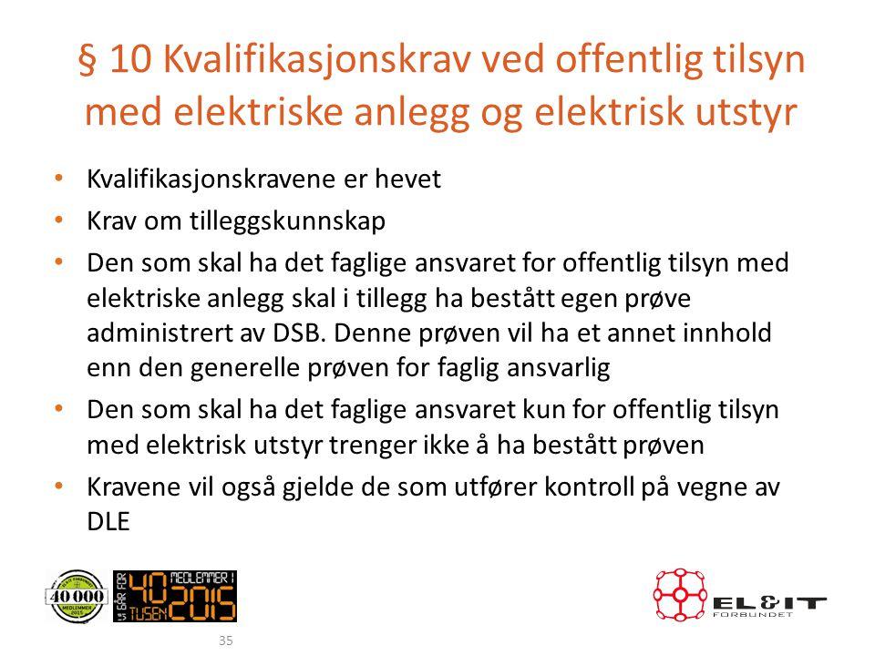 § 10 Kvalifikasjonskrav ved offentlig tilsyn med elektriske anlegg og elektrisk utstyr • Kvalifikasjonskravene er hevet • Krav om tilleggskunnskap • D