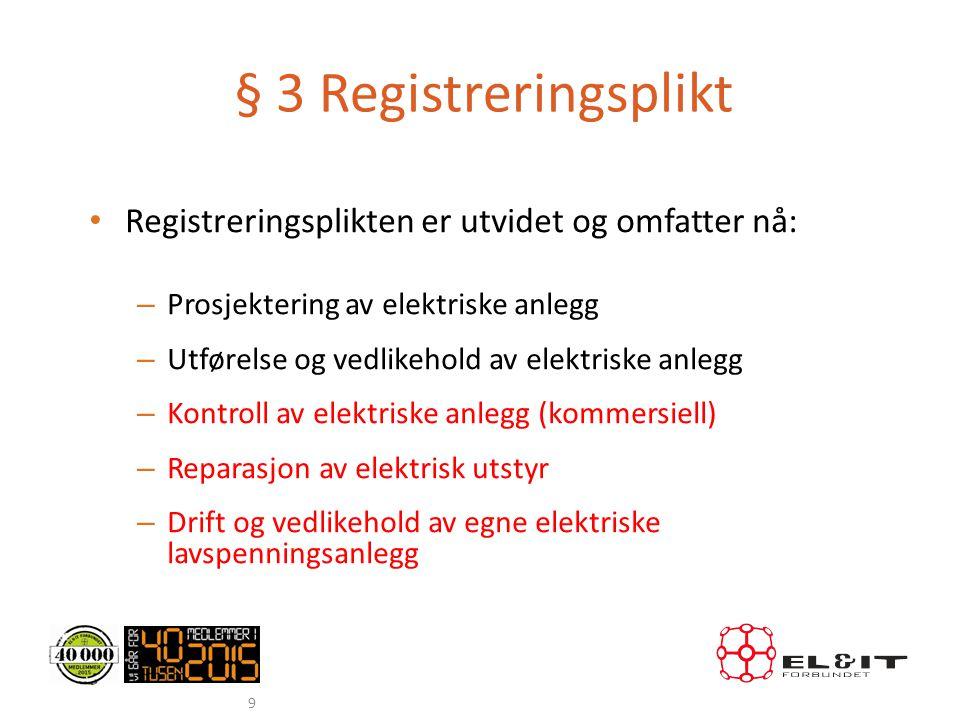 § 3 Registreringsplikt • Registreringsplikten er utvidet og omfatter nå: – Prosjektering av elektriske anlegg – Utførelse og vedlikehold av elektriske