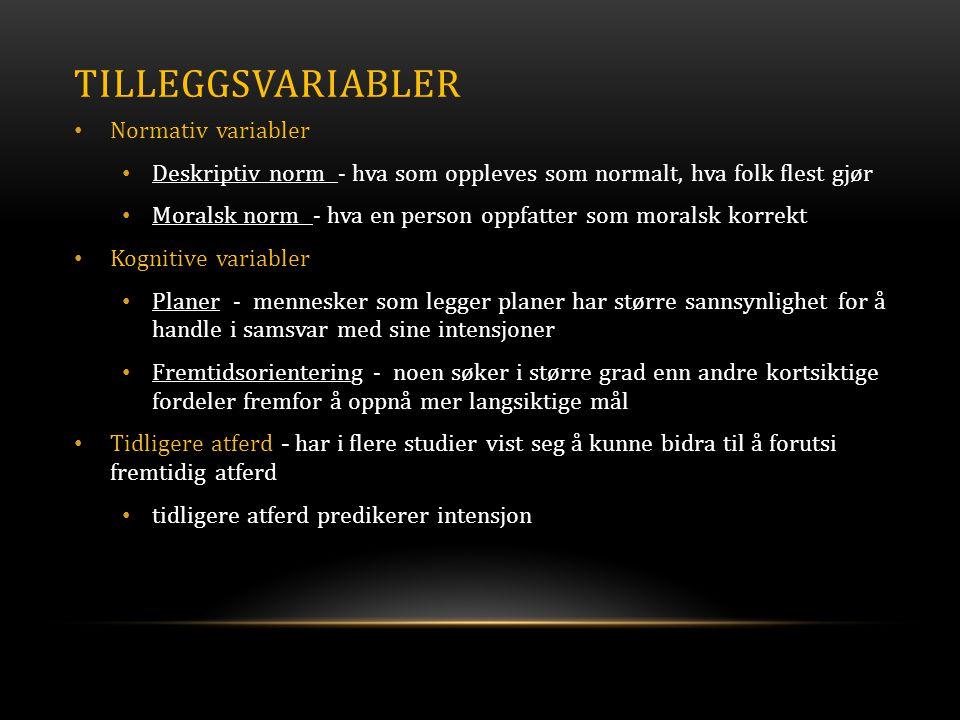TILLEGGSVARIABLER • Normativ variabler • Deskriptiv norm - hva som oppleves som normalt, hva folk flest gjør • Moralsk norm - hva en person oppfatter