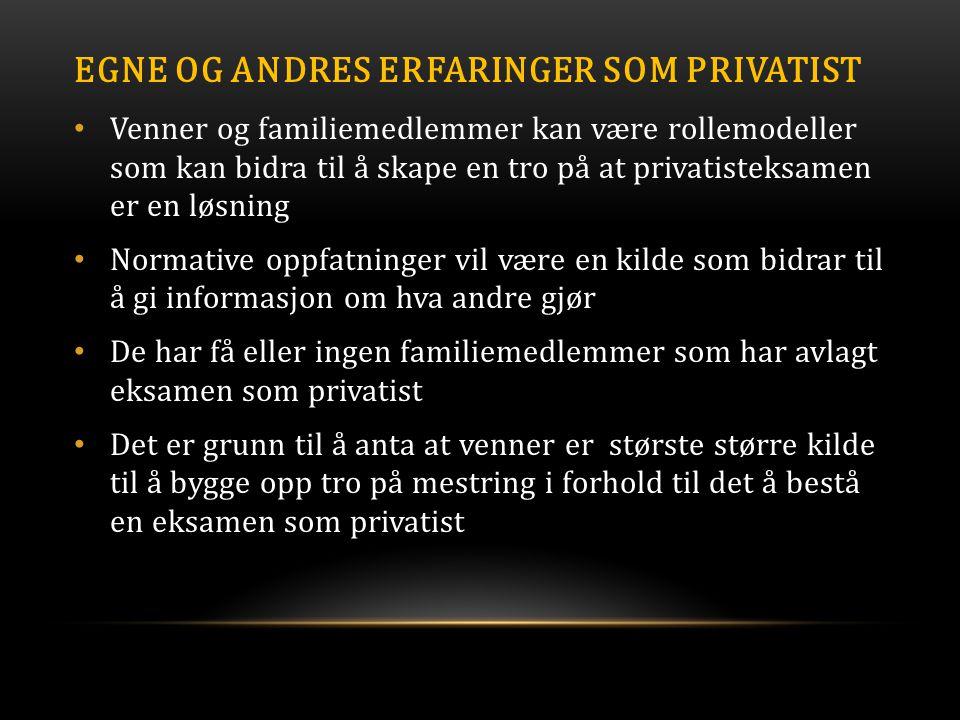 EGNE OG ANDRES ERFARINGER SOM PRIVATIST • Venner og familiemedlemmer kan være rollemodeller som kan bidra til å skape en tro på at privatisteksamen er