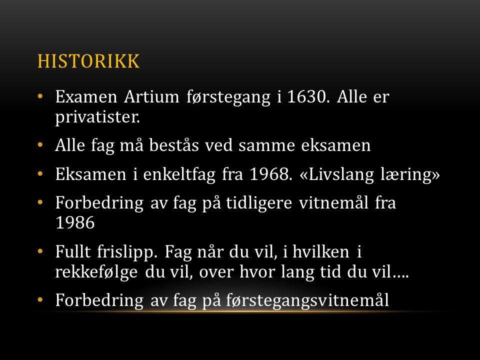 HISTORIKK • Examen Artium førstegang i 1630.Alle er privatister.