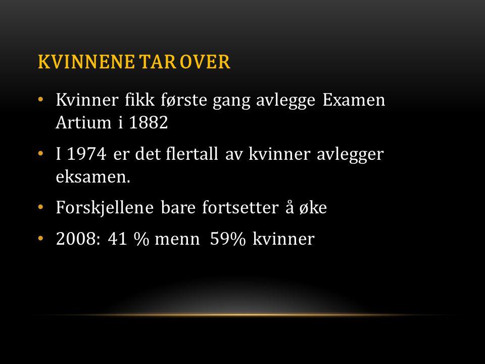 KVINNENE TAR OVER • Kvinner fikk første gang avlegge Examen Artium i 1882 • I 1974 er det flertall av kvinner avlegger eksamen. • Forskjellene bare fo
