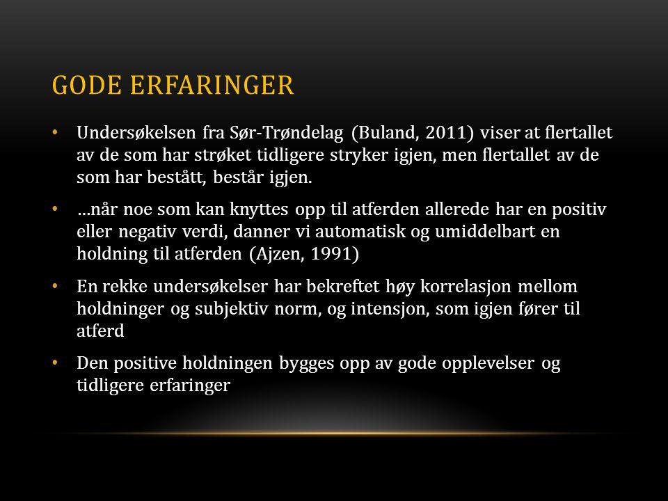 GODE ERFARINGER • Undersøkelsen fra Sør-Trøndelag (Buland, 2011) viser at flertallet av de som har strøket tidligere stryker igjen, men flertallet av de som har bestått, består igjen.