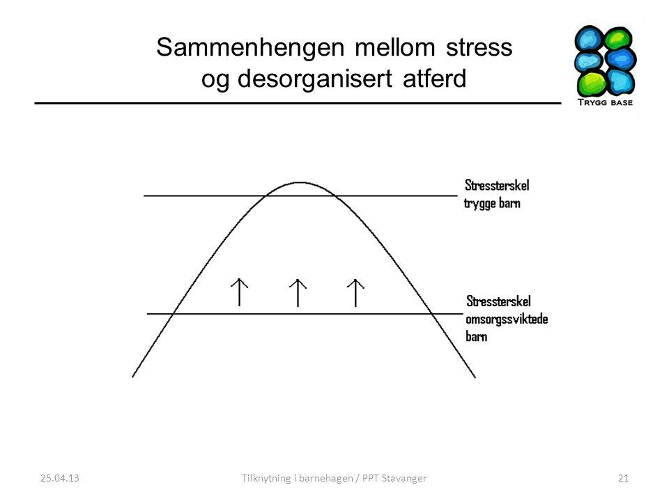 Sammenhengen mellom stress og desorganisert atferd 25.04.13Tilknytning i barnehagen / PPT Stavanger21