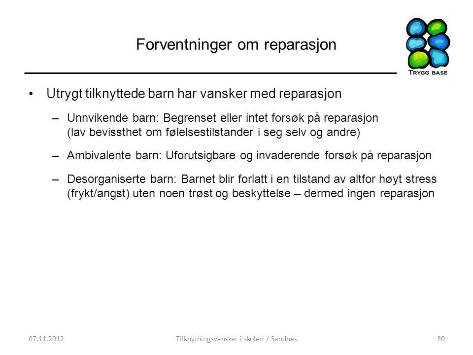 Forventninger om reparasjon •Utrygt tilknyttede barn har vansker med reparasjon –Unnvikende barn: Begrenset eller intet forsøk på reparasjon (lav bevi