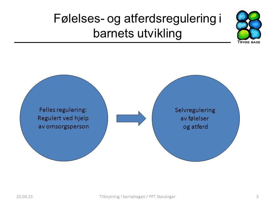 Følelses- og atferdsregulering i barnets utvikling 25.04.13Tilknytning i barnehagen / PPT Stavanger5 Felles regulering: Regulert ved hjelp av omsorgsp